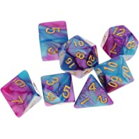 HOMYL Pack 7 Polyhedral Dice Set 1.6cm/0.62'' D20 D12 D10 D8 D6 D4 for Dungeons & Dragons RPG Board Game Party Accessories