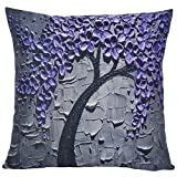 ChezMax Oil Painting Home Decorative Cotton Linen Throw Pillow Cover Cushion Case Square Pillowslip For Drawing Room Purple Flowers 18 X 18''