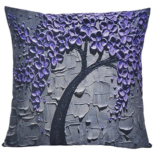 ChezMax Flat Printed 3D Oil Painting Effect Home Decorative Cotton Linen Throw Pillow Cover Cushion Case Square Pillowslip for Drawing Room Purple Flowers 18 X 18'' 18' Real Photo Pillows