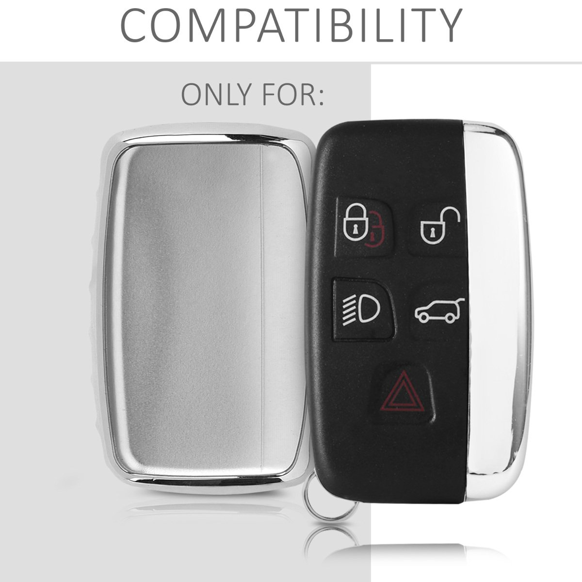 Silver High Gloss KW-Commerce 44263.94/_m000834 Soft TPU Silicone Protective Key Fob Cover for Land Rover Jaguar 5-Button Remote Car Key kwmobile Car Key Cover for Land Rover Jaguar