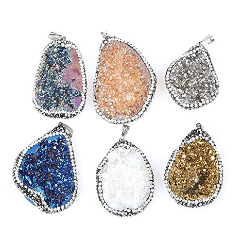 5PCS Mix-Color Raw Quartz Crystal Micro Paved Pendants Natural Irregular Shape Pendant Charms for Jewelry Making