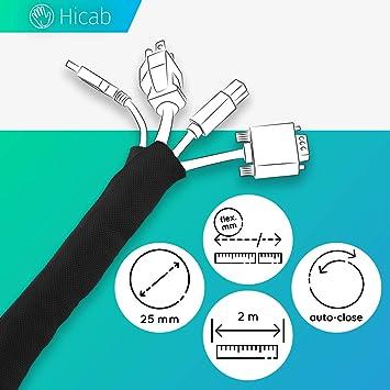 Tubo portacables de Hicab: recortable y con autocierre. Funda para cable de 2 m de longitud, 25 mm de anchura y color negro. Permite ocultar los cables del escritorio y del televisor.: