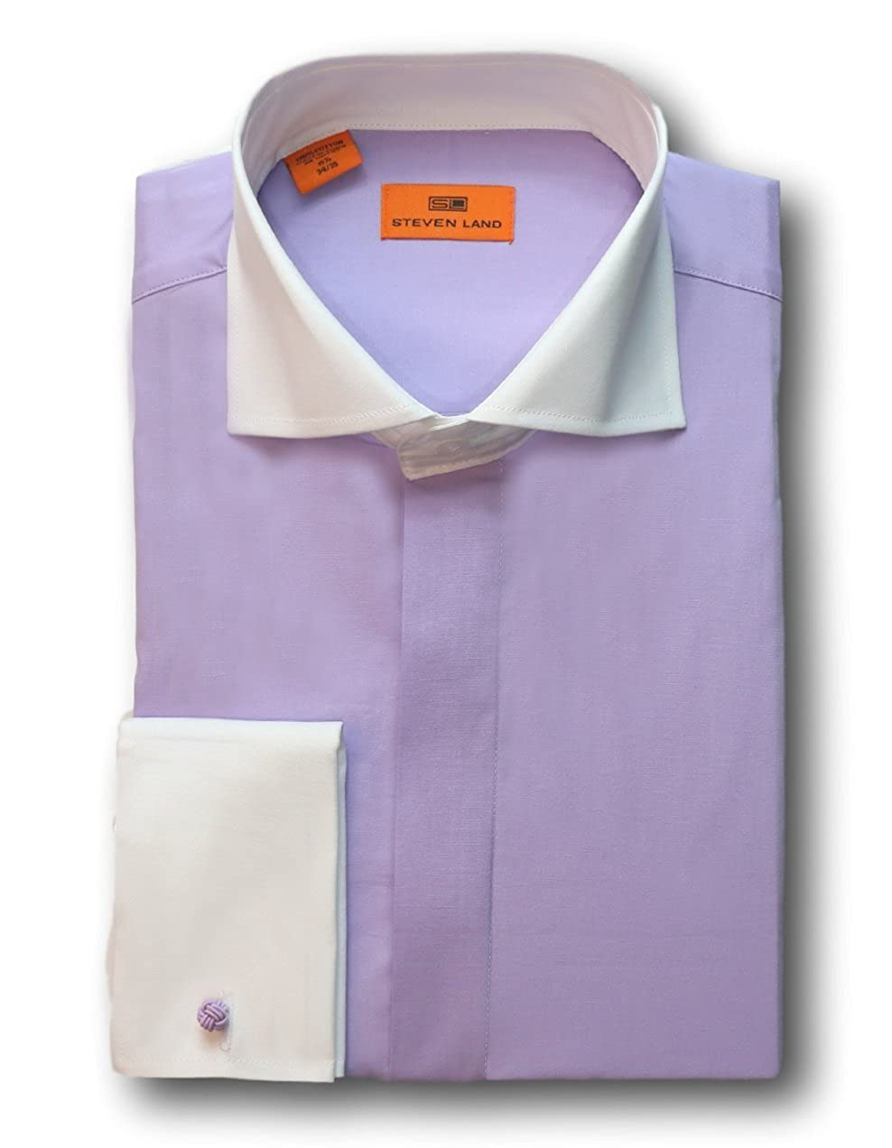 Solid Poplin Dress Shirt With Contrast Collar 100 Cotton Dw516