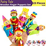 BETTERLINE Premium Wooden Finger Puppets 23-Piece Set / Fairy Tale & Nursery Rhymes Characters - Red Riding Hood, 3 Little Pigs, Goldilocks & the 3 Bears, Family and Kingdom