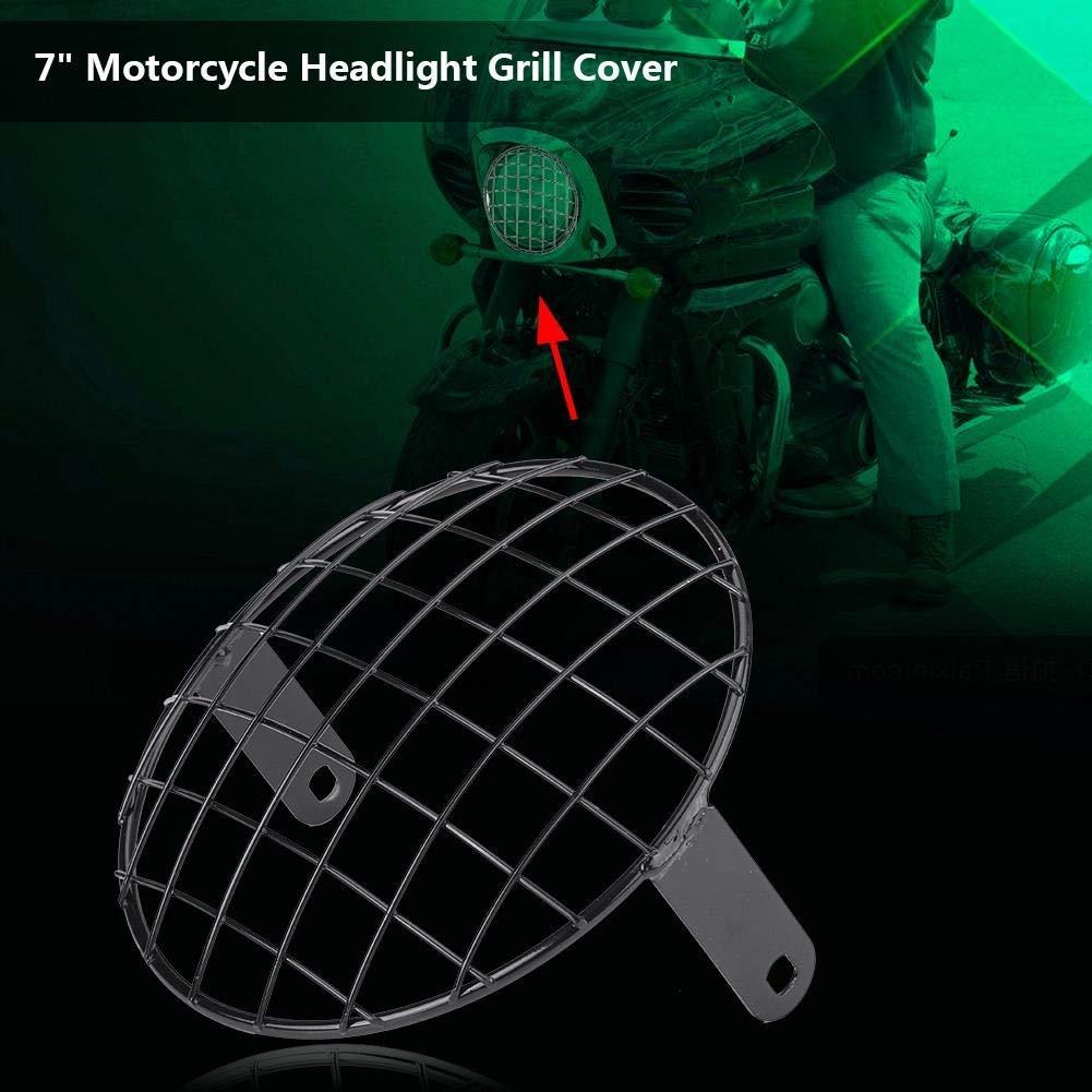 Phare Grill 1 PC de moto masque de couvercle universel de montage lat/éral de gril de phare 7pour Cafe Racer. Noir
