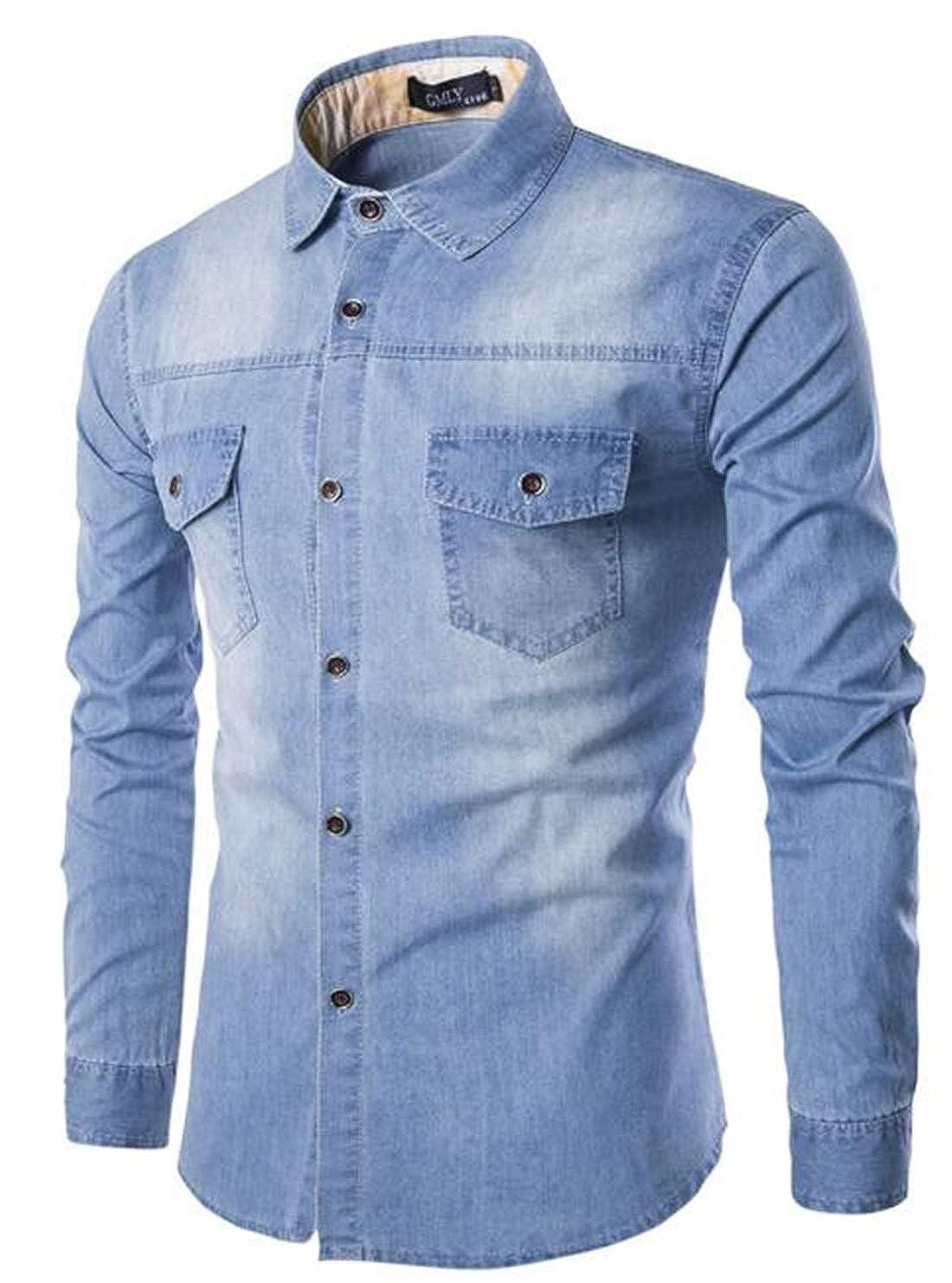 X-Future Mens Pockets Plus Size Long Sleeve Button Up Denim Shirt