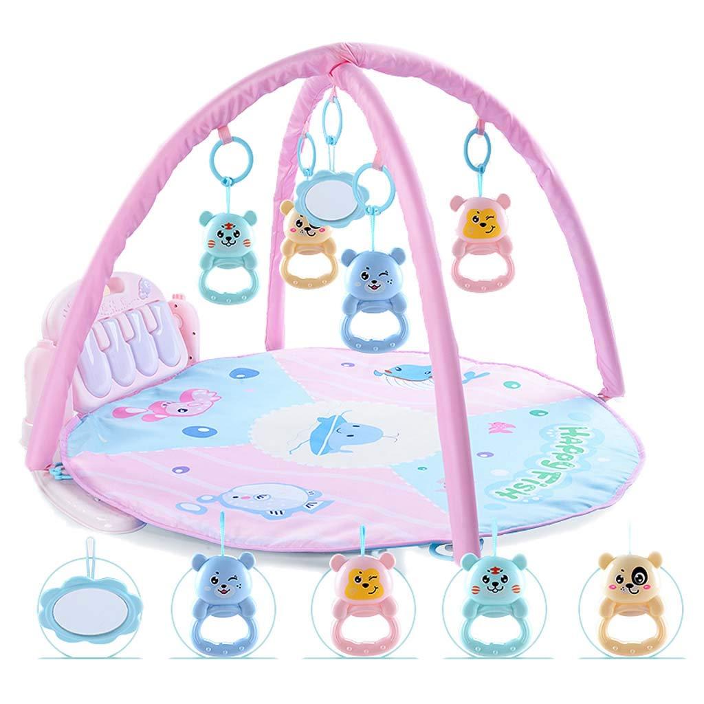 Bebé Actividad Gimnasio-Juego Mat Fitness Aprendizaje Cojín Funanimals, Música, Discovery Carpet para 0-12 Meses Bebé Recién Nacido,Blue [Clase de eficiencia energética A] oofay