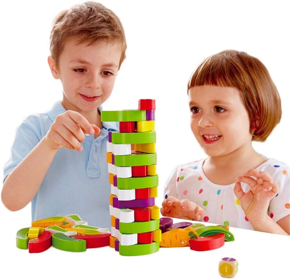 Arkmiido Torre de Bloques de Madera de Juego de Torre Modelo Vegetal, Juguetes de Madera,Juguetes educativos para niños de Alrededor de 3 años,Regalo para niños y niñas(54PCS)