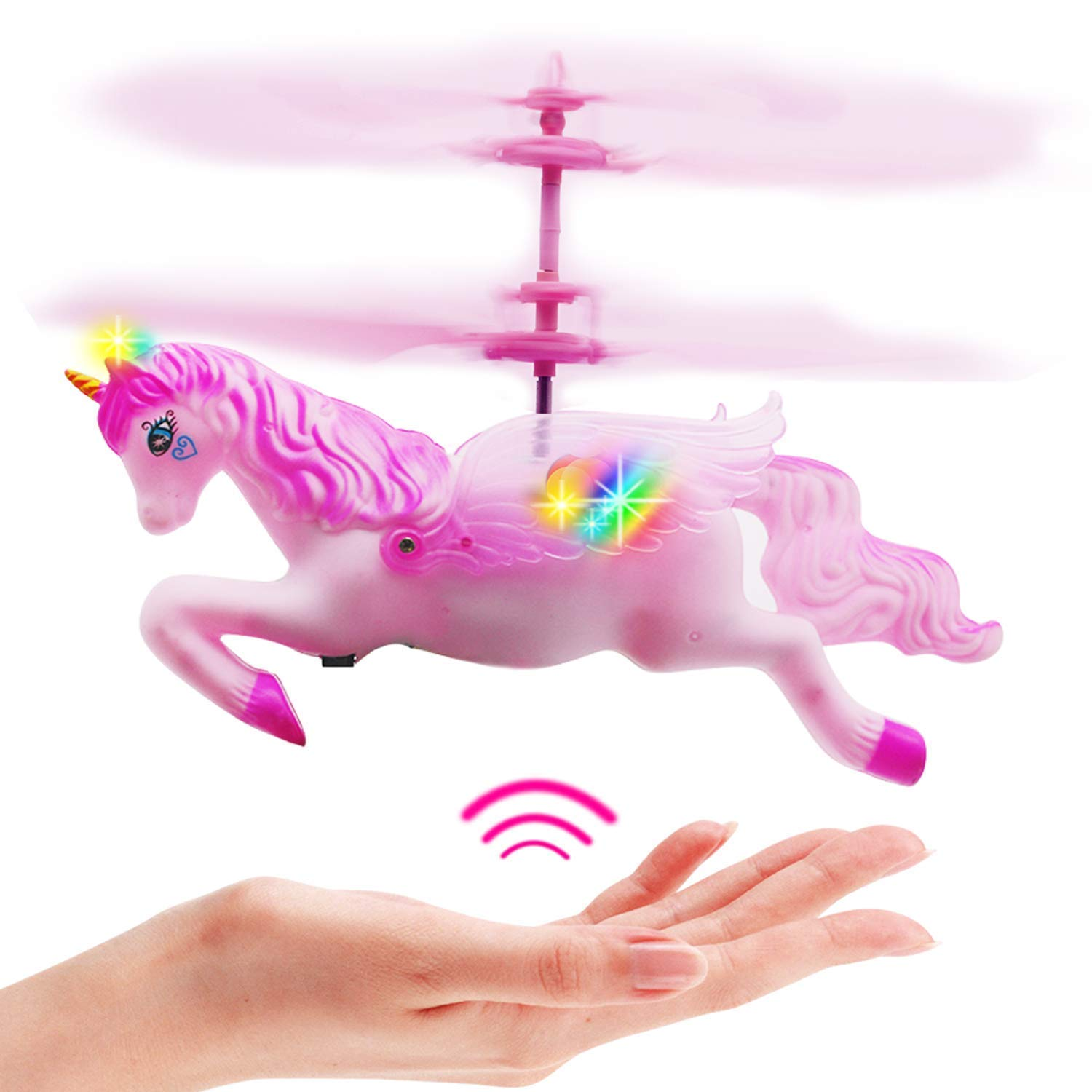 AveryLu Flying Unicorn Toys Flying Fairy Toys Pink Mini Flying Helicopter Unicorn Toy Gifts for Little Girls 8 9 10-14 Years Old Up Birthday Xmas Party Supplies by litytlen To