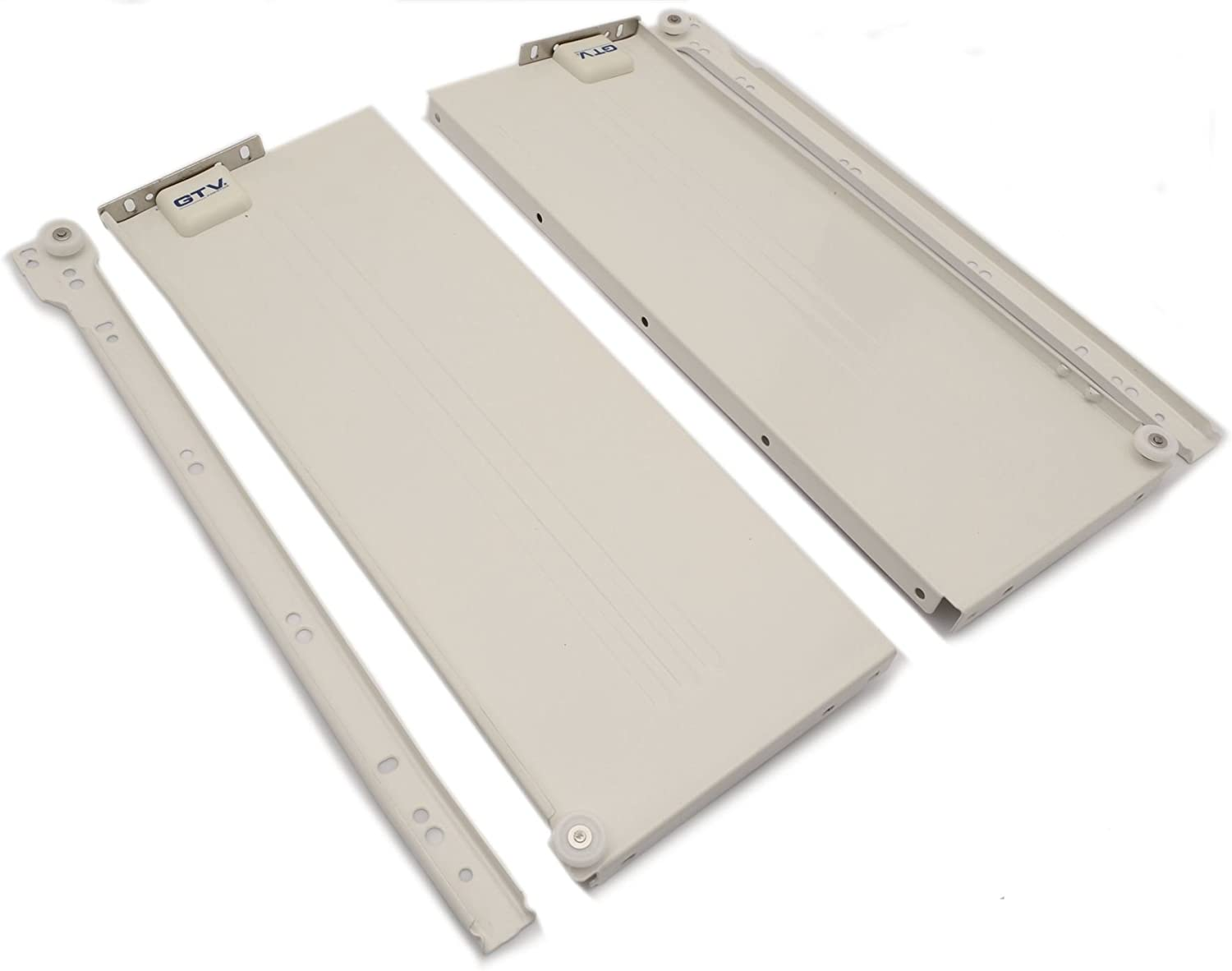 Metabox Metal Drawers Sides//Runners Slides Rollers Set White H86 mm L400 mm
