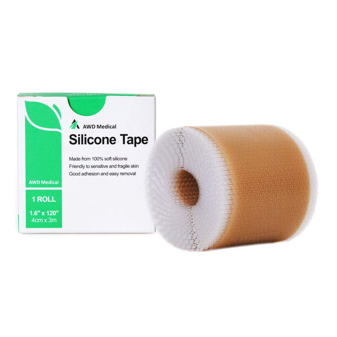 "AWD Medical Soft Silicone Tape for Scars Removal – 1.6"" x 120"" with Silicone Gel Sheeting - Painless Easy Removal for Surgery 