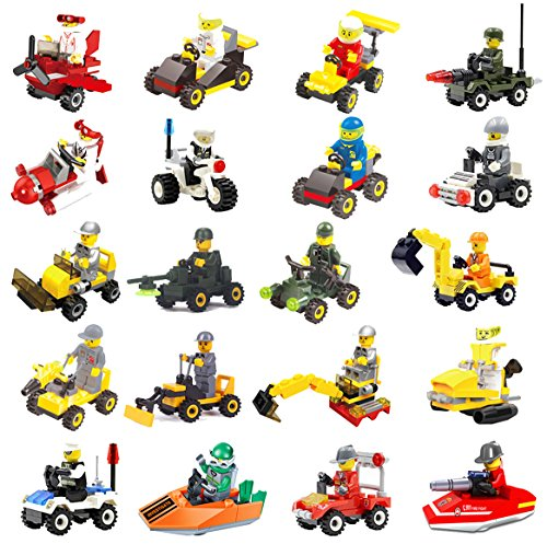FeiZhu 20 Building Vehicles with Minifigures for Kids Party Favors,Birthday Gift for Children,100% Compatible by color mogu