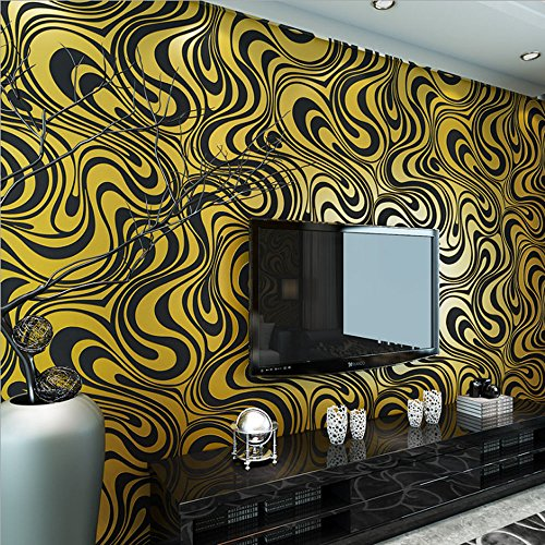 Abstract Wallpaper (QIHANG Modern Luxury Abstract Curve 3d Wallpaper Roll Mural Papel De Parede Flocking for Striped Black&gold Color Qh-wallpaper 0.7m8.4m=5.88㎡)