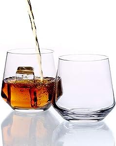Whiskey Glass Set of 2-14oz, Rocks Glasses Premium Lead Free Hand Blown Old Fashioned Glass - Amallino