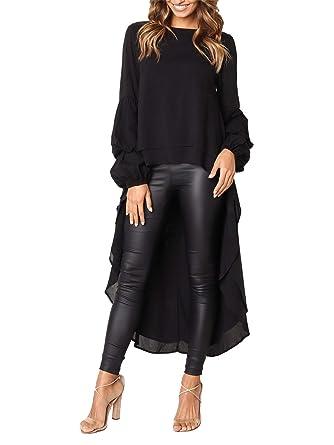 c8fa7b239b0 MISSLOOK Women s Lantern Long Sleeve Tops High-Low Hem Tunic Round Neck  Asymmetrical Irregular Hem
