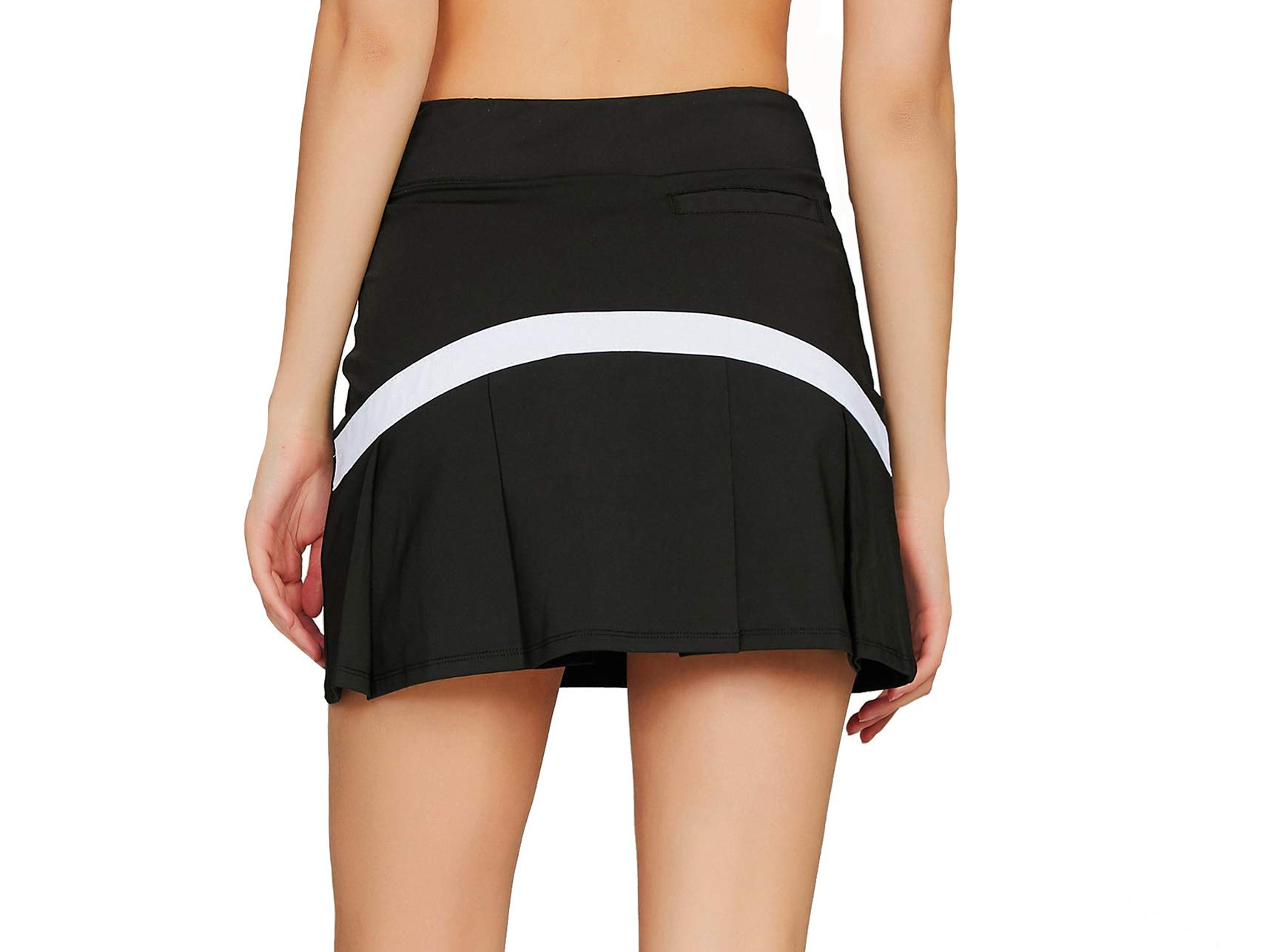 Cityoung Women's Casual Pleated Tennis Golf Skirt with Underneath Shorts Running Skorts bk_wh XL by Cityoung