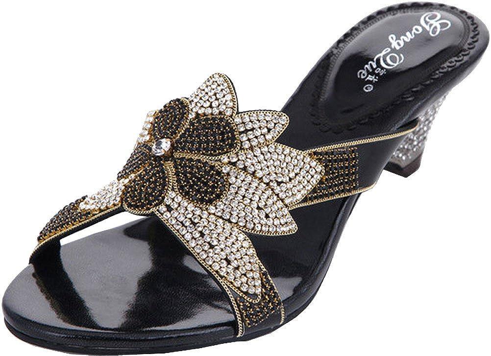 vimedea Womens Wedges Slip On Open Toe Sandals Wedding Bride Rhinestone Party Prom Kitten Heel Leather Shoes T042