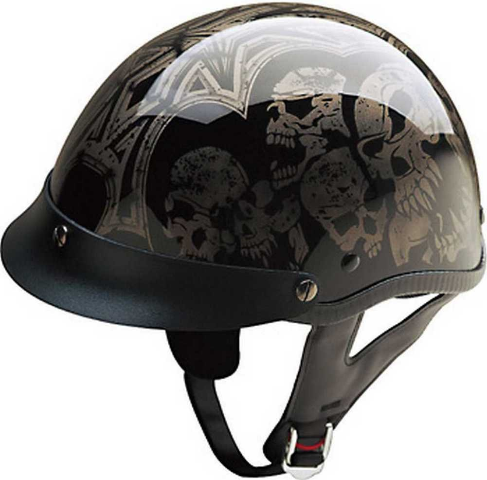 HCI Screaming Skulls Black/Silver, Half Helmet w/Visor ABS Shell 100-107 (XL) by HCI