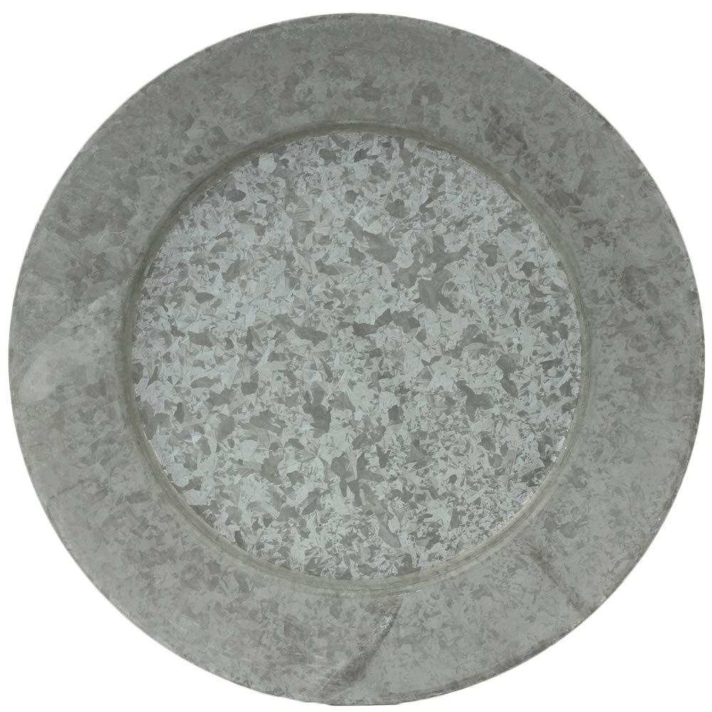 Koyal Wholesale Galvanized Metal Charger Plates, Set of 4, Modern Industrial Wedding Decor, Farmhouse Decor, Rustic Table Décor, Vintage Zinc Charger Place Settings