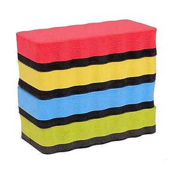 Newin Star 4 Piezas de Colores Pizarra magnética de borrado en seco Borrador Pizarra Limpiadores limpiaparabrisas para Suministros de Oficina de la Escuela ...
