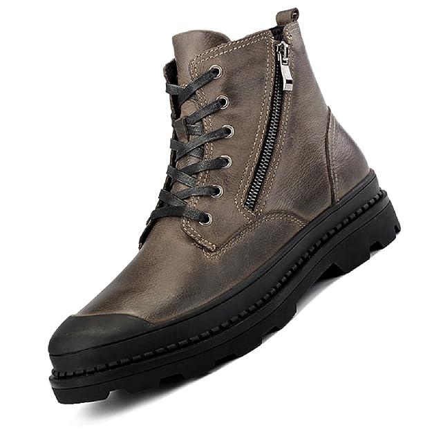 ByBetty Botines de cuero para hombre Botas calientes de invierno Botines de trabajo altos con cordones Zip Up Shoe: Amazon.es: Zapatos y complementos