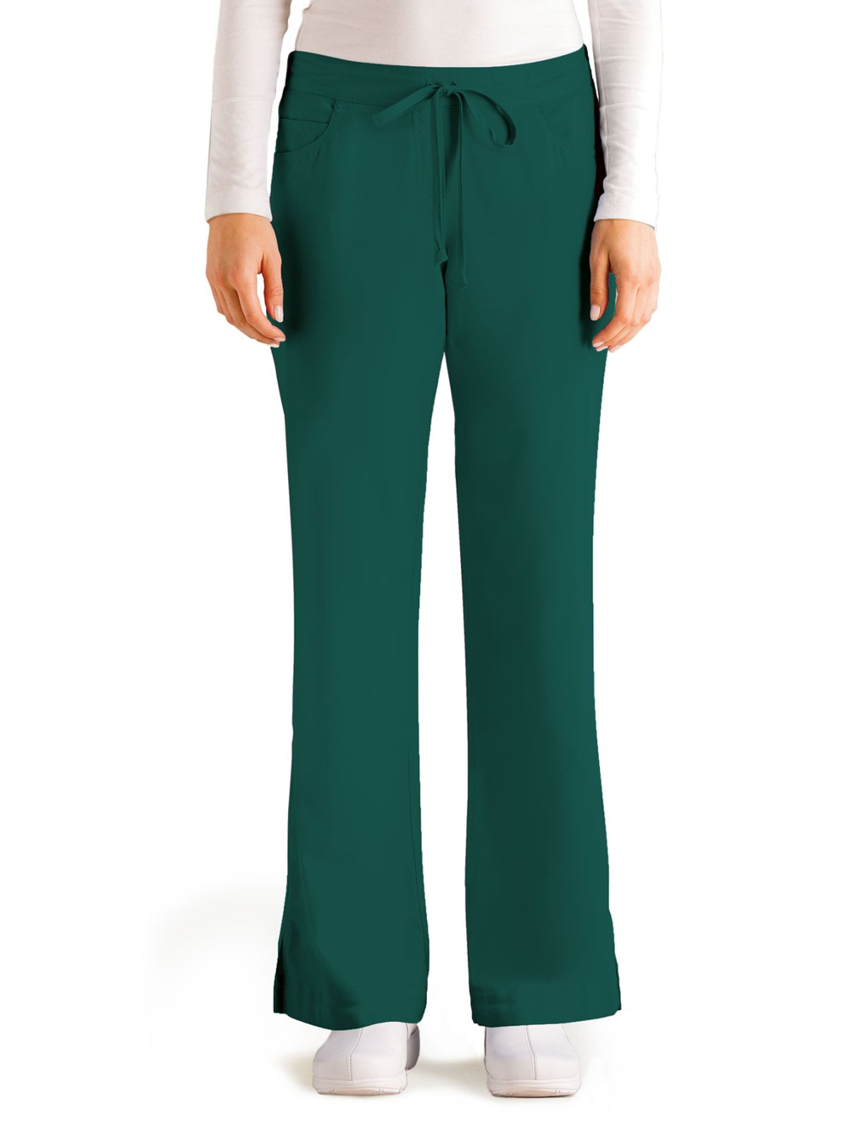 Grey's Anatomy Women's Junior-Fit Five-Pocket Drawstring Scrub Pant - Small Petite - Hunter Green