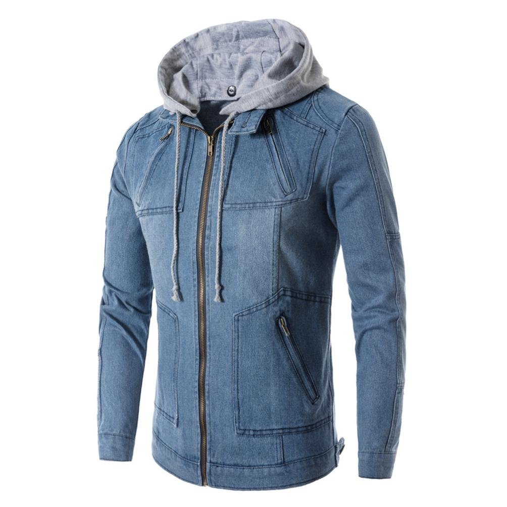 WM & MW Fashion Men Denim Jacket Coats Winter Fake Two Pc Zipper Hooded Jeans Jacket Coat Outwear (Blue, Asian:L) by WM & MW