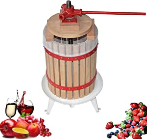 Fruit Apple Cider Wine Press- Solid Wood Basket-1.6 Gallon/6L- Pole Hand Shank-Manual Juicer for Juice,Wine,Cider-Suitable for Outdoor, Kitchen and Home