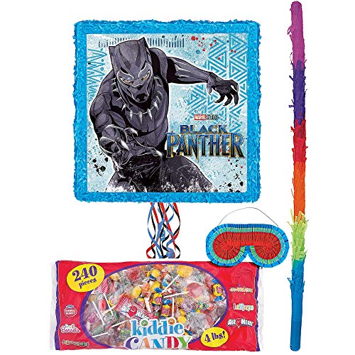 (Party City Black Panther Pinata Kit for Birthday Party, Includes Bat, Blindfold and Kiddie Candy Mix (4lb)