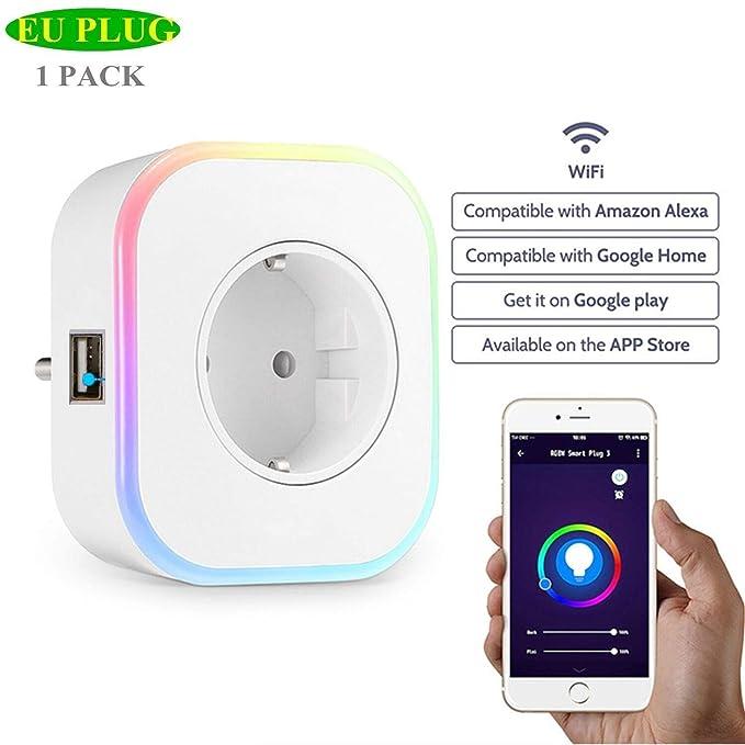 6 opinioni per ECOOBUY Spina Smart EU, Mini presa Wi-Fi con porta USB Nightlight Compatibile