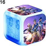 7 Colors LED Fortnite Alarm Clock, Digital Alarm Clock with Snooze Function, LCD Screen Displays Time, Date, Temperature, Best Gift for Children Birthday, Christmas or Game Lovers (Random Pattern)