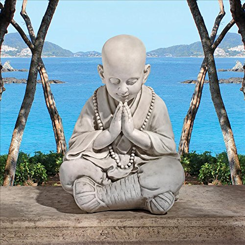 Design Toscano Praying Baby Buddha Asian Garden Statue, Antique Stone