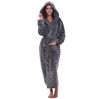 Alexander Del Rossa Women's Plush Fleece Robe with Hood, Warm Solid Bathrobe at Women's Clothing store