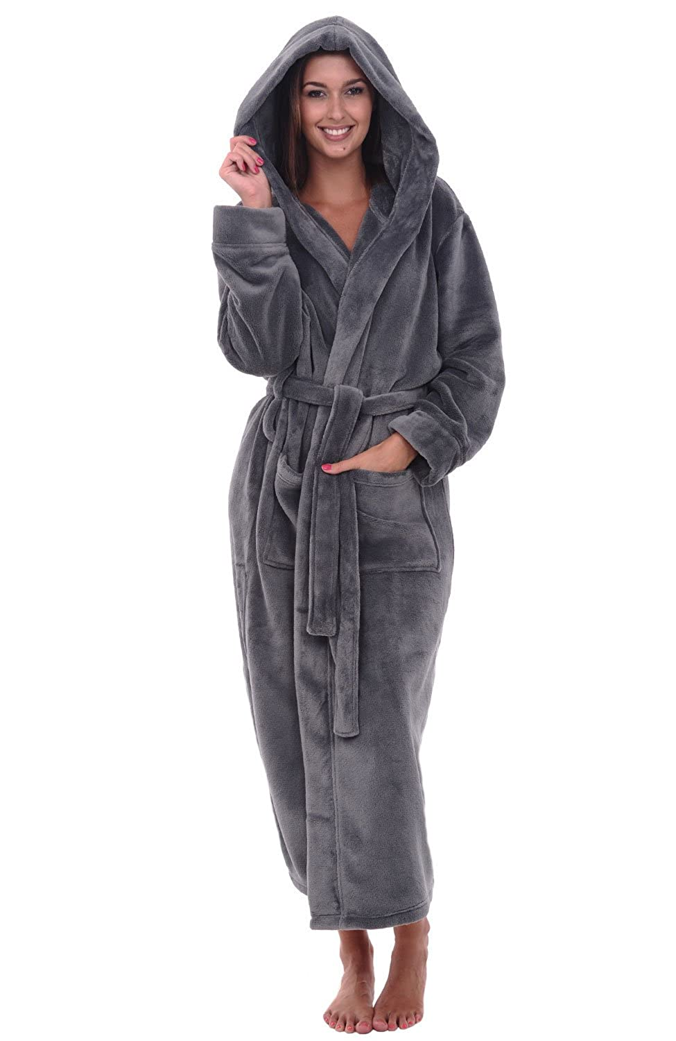 Womens Fleece Long Hooded Bathrobe