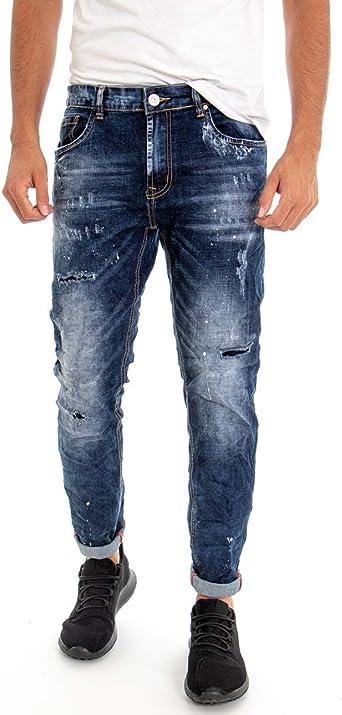 Giosal Pantalón de Cinco Bolsillos para Hombre, Color Azul
