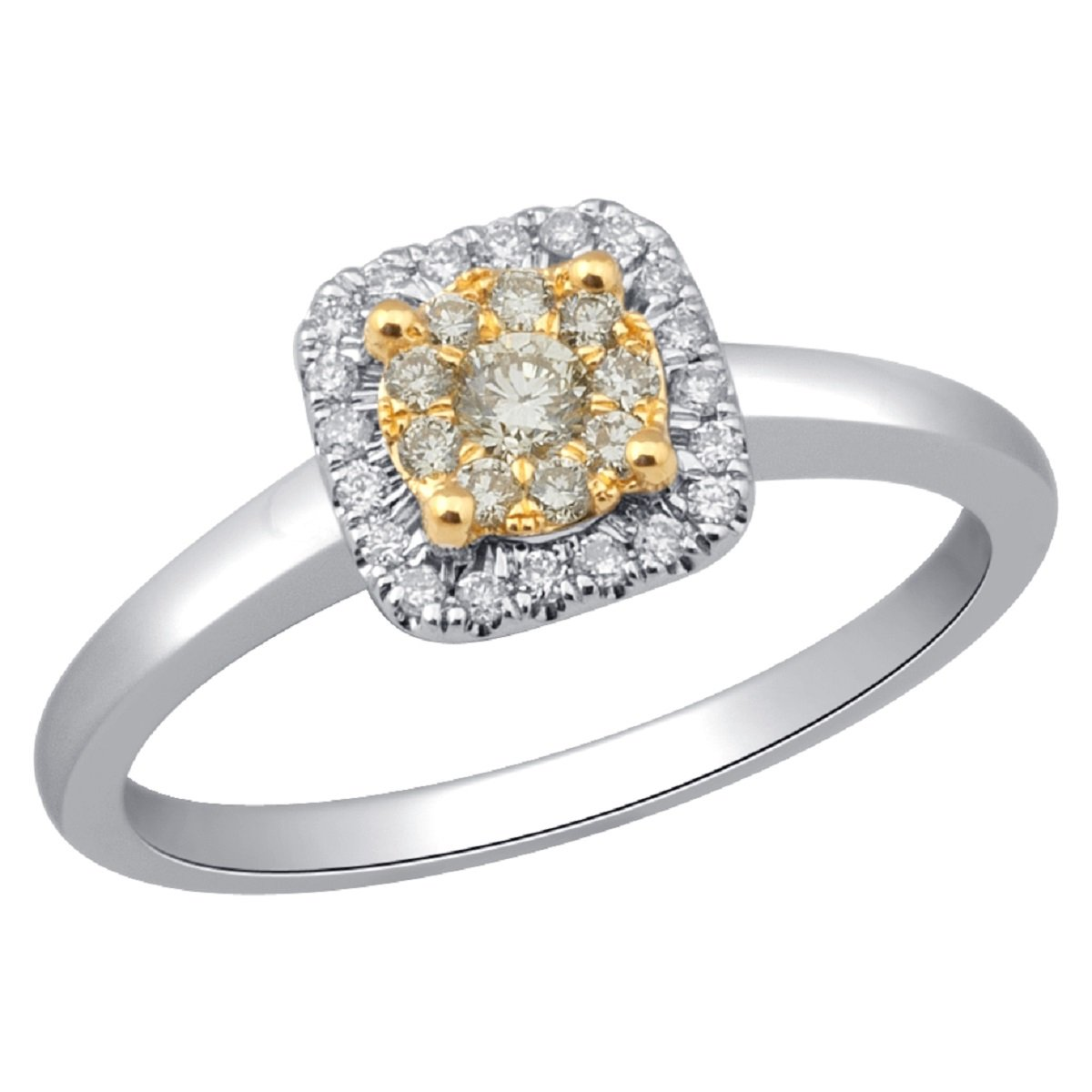 Designer Collection, Rare, Jewel Ivy 14K White Gold Ring with Diamonds and Yellow Diamonds,Fashion, Exotic, Royal, Best Gift For Wife, Girlfriend, Friend, Size- US-7-7.25