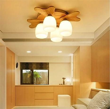 hxdzl Moderno Lámpara de techo madera maciza - Lámpara de ...