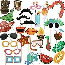 LeeSky Aloha Flamingo Hawaiian Themed Photo Booth Props Kit ,DIY Luau Party Supplies for Beach parties,Kids Birthdays,Pool Parties,Summer Festivals