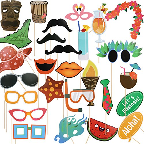 27pcs Luau Hawaiian Photo Booth Props Kit,for Holiday,Beach Pool Parties,Summer,Tropical,Tiki,Hawaii,Birthdays Party Decoration (Beach Themed Pool)