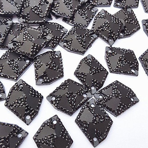 (50pcs Cosmic Shape Sew On Rhinestones for Clothes Garment Shoes Accessories,Flatback All- Star Gems Sewing Resin Stone Beads 2 Holes (Black, 17x21mm))