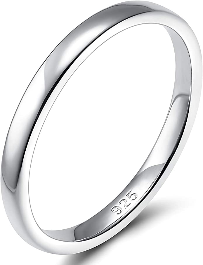 925 Sterling Silver Flat  2mm Plain Band Polished  Ring In Sizes G-Z//20 Sizes