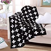 Knitting Blanket Jacquard Soft Sofa Cover Baby Receiving Blanket Warm,35 by 42inch (90x110cm), Black& White Cross Pattern