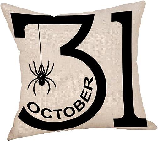 Deelin Decoration De Maison Halloween Fantomes De Citrouille Imprimant Taies D Oreiller 45cm X 45cm Housse De Coussin En Lin Coton