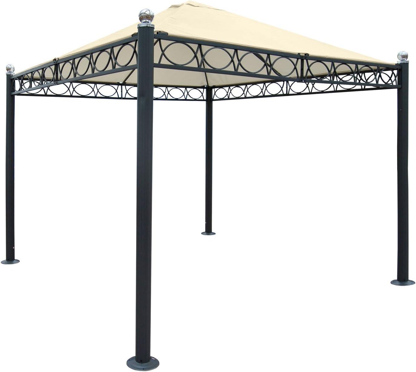 Pergola Bela Antigua, Cenador, estructura estable de 10 cm de lujo aluminio, 3 x 3 m ~ Sin pared laterales