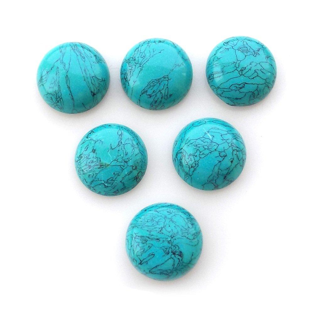 RASIYO 2 Pcs Turquoise Cabochons Lot Loose Gemstone 14mm Round Shape Callibrated Cabochon, Wholesale Lot For Jewelry Making SURBHI CRAFTS 14MMBLUETURQUOISE