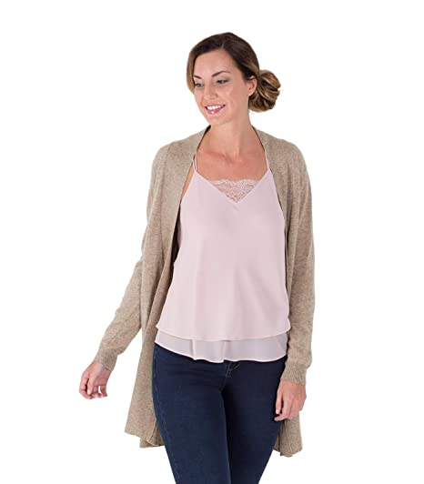 446ab9cbb Womens Cashmere Merino Wool Long Edge to Edge Open Front Long Sleeve Fine  Knit Knitted Cardigan with Pockets