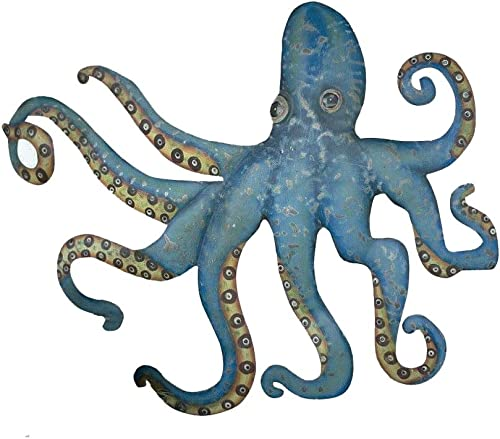 CHSGJY Swimming Octopus Wall Decor Recycled Metal Hanging Coastal Nautical Beach 32inches W