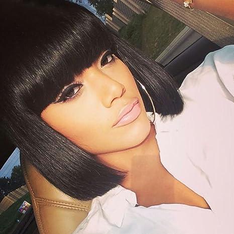 usexy corto Bob Pelucas sintéticas pelucas para mujeres baratas con Bangs para negro mujer afroamericana Pelucas