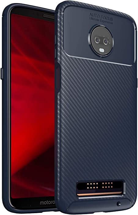 Moto Z3 Play Case, Onyxii Luxury Lightweight Durable Carbon Fiber Grip Back Pattern Protective Sleeve TPU Case Cover for Motorola Moto Z Play 3rd Generation (Navy)