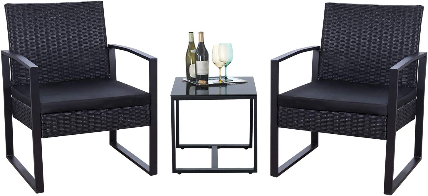Flamaker 3 Pieces Patio Set Outdoor Wicker Patio Furniture Sets Modern Bistro Set Rattan Chair Conversation Sets with Coffee Table Black